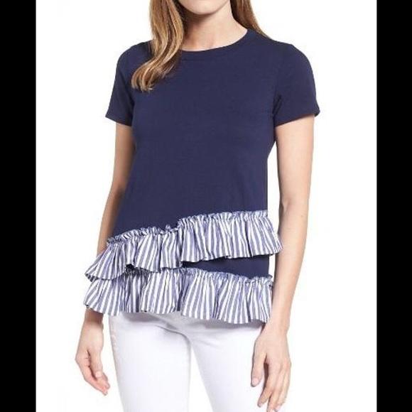 9b8c8cd554fb8 Babeau Tops - Babeau Ruffled Hem T-Shirt