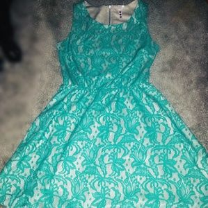 Nude w/ Turquoise Lace Sundress or Party Dress