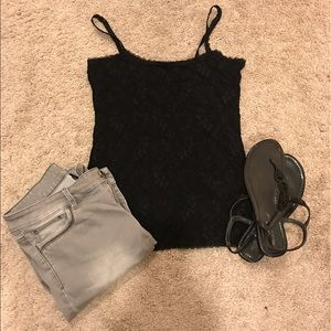 WHBM black lace camisole