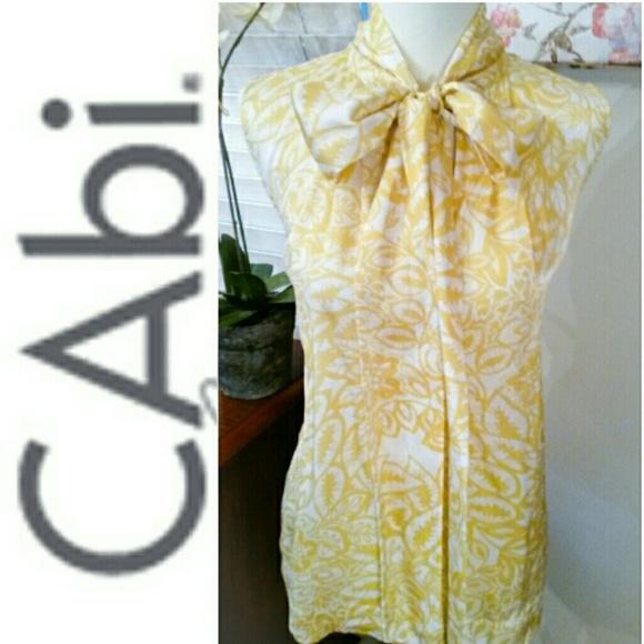 b103cfb141303 CAbi Tops | 100 Silk Moonbeam Yellow Tunic | Poshmark