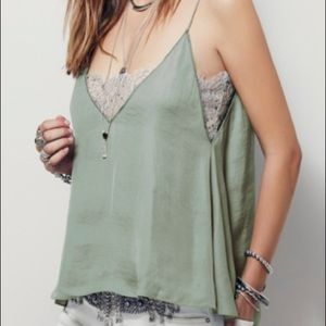 Free People Deep V Bandeau Cami in Frosty Green
