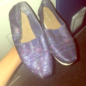 Purple iridescent glitter gently used faux TOMS