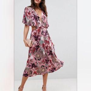 ASOS Pink and Gray Iris Midi Pencil dress