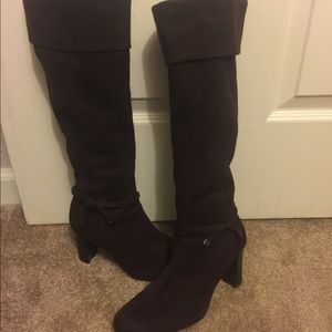 Prediction brown knee high leather boots 