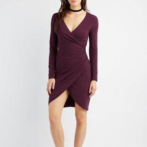 Mauve Ruched Surplice Wrap Dress