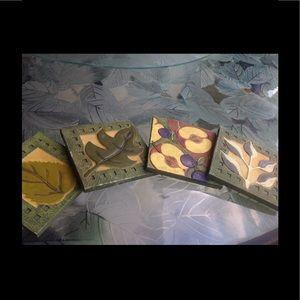 Accessories - Set of 6 Ceramic leaf coasters