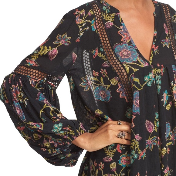 638b1c54bf1 Free People Tops - Free People Black Just the Two of Us Floral Tunic