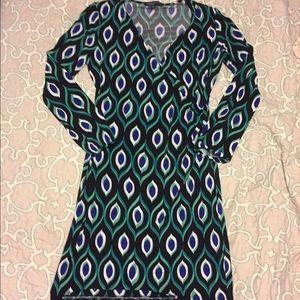 EUC Jones New York peacock print faux wrap dress