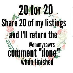 Share 20 for 20 ♡ returning all shares sunday