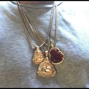 Other - 14K Gold Plated Trio of Buddha Necklace Set