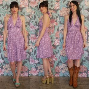 Vintage-Style Purple Floral Halter Dress