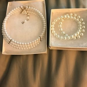 Jewelry - Pearl Wedding jewelry choker and bracelets