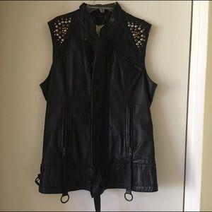 Diesel leather and metal vest