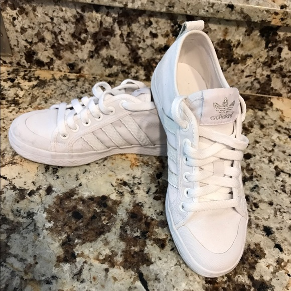 Adidas white canvas sneakers used 2x as 5.5 women