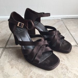 Women's Calvin Klein brown strapped heels