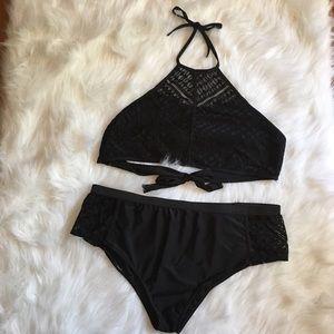 High Neck High Waisted Black Bikini Bathing Suit