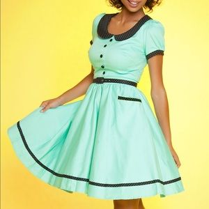 Pinup Girl Clothing Dee Dee Dress Mint and Black L
