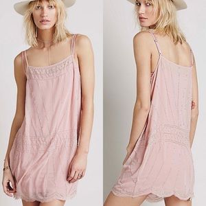 Free People Annabel Light Pink Beaded Shift Dress
