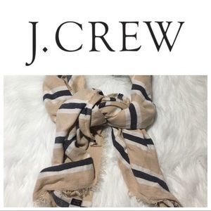 "J. Crew Italy Blanket Scarf Tan Stripe 24"" x 74"""