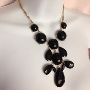 Jewelry - Fasceted Black Bubble Bib Gold Chain Necklace