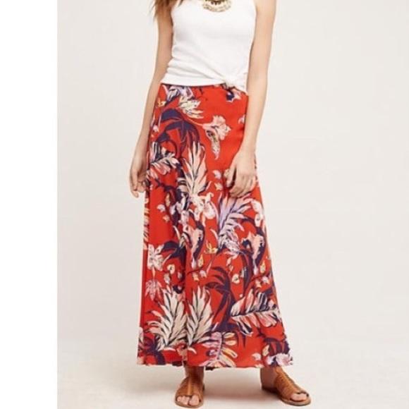 b3a12a22e Anthropologie Skirts | Nwt Hd Redorange Floral Maxi Skirt | Poshmark