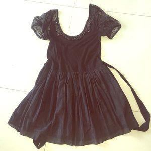 YF&B sz sm lace cap sleeve beaded neck black dress