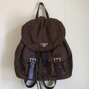 Authentic Brown Nylon Prada Backpack