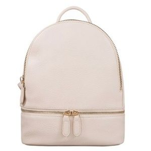 Handbags - Round Mini Vegan Leather Backpack - Ivory