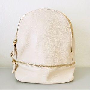 Handbags - Round Mini Vegan Leather Backpack - Ivory