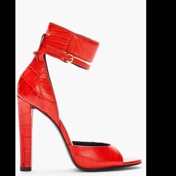 6439ee1a6 Alexander Wang Shoes - ALEXANDER WANG red crocodile AMINATA heels