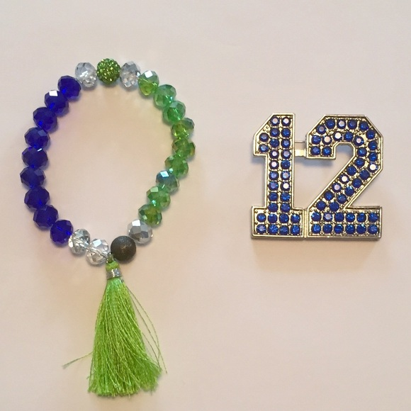 51 off jewelry seattle seahawks 12 gemstone pin for Sell gold jewelry seattle