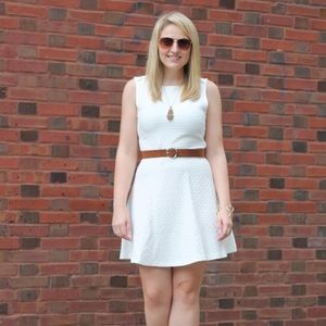Zara Basics Fit & Flare White Dress