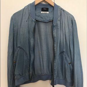 Denim Soft Bomber Jacket