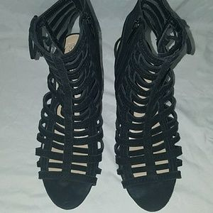 Vince Camuto Black Strap shoes zip up