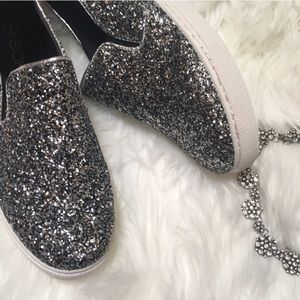 Shoes - Trendy silver glitter slip on sneakers