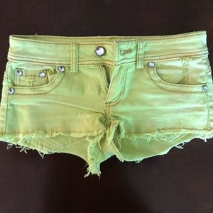 Pants - Lime green jean shorts