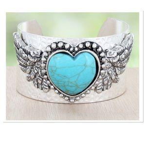 Turquoise Heart Cuff Bracelet