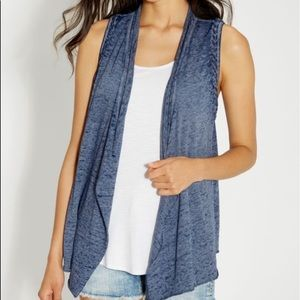 Maurice's Burnout Vest with Braided Trim LIKE NEW!