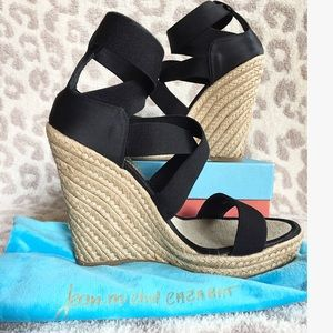 40bec7ffe67d Jean-Michel Cazabat Shoes - Jean-Michel Cazabat Black Strappy Satin Wedges