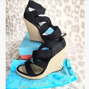 Jean-Michel Cazabat Black Strappy Satin Wedges