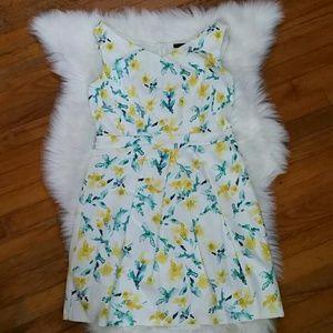 Zara Basic Watercolor Floral Cotton Dress