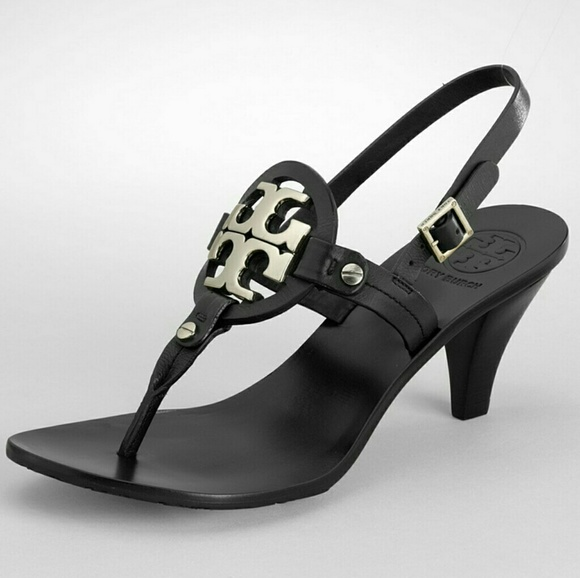 Tory Burch Shoes - Tory Burch Holly 2 Black Leather Silver Emblem 9.5