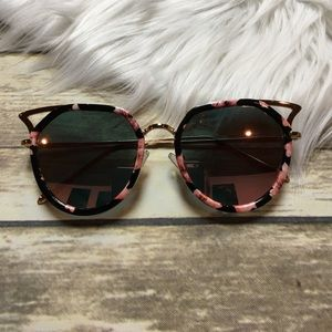 Accessories - Floral and Gold Oversized Cat Eye Sunglasses