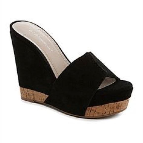 Bcbg Black Suede Wedge Shoes