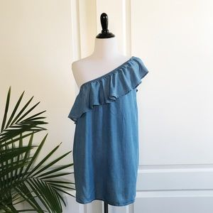 Old Navy One Shoulder Chambray Ruffle Top