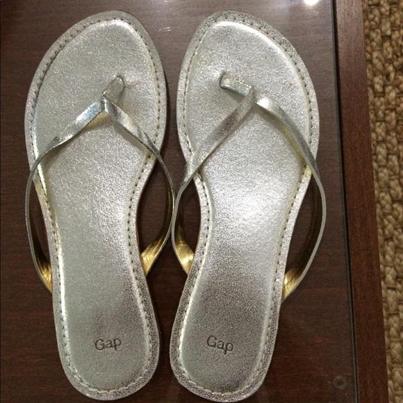 Gap Leather Silver Metallic Flip Flops 8 From Kates -6233