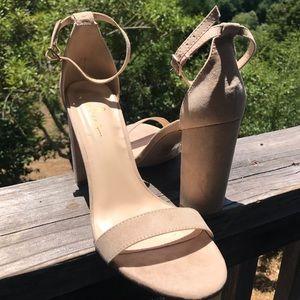 Lulu's Nude Suede Ankle Strap Heels