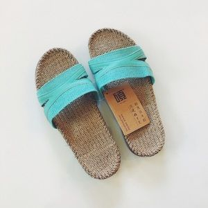 Shoes - NWT Metallic Teal Straw Sandals