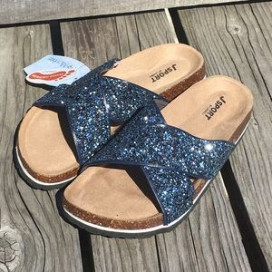SZ 6 only! 5️⃣🌟 Navy Glitter Cork Sandals! NEW!