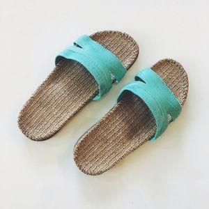 Shoes - NWOT Metallic Teal Woven Straw Sandals